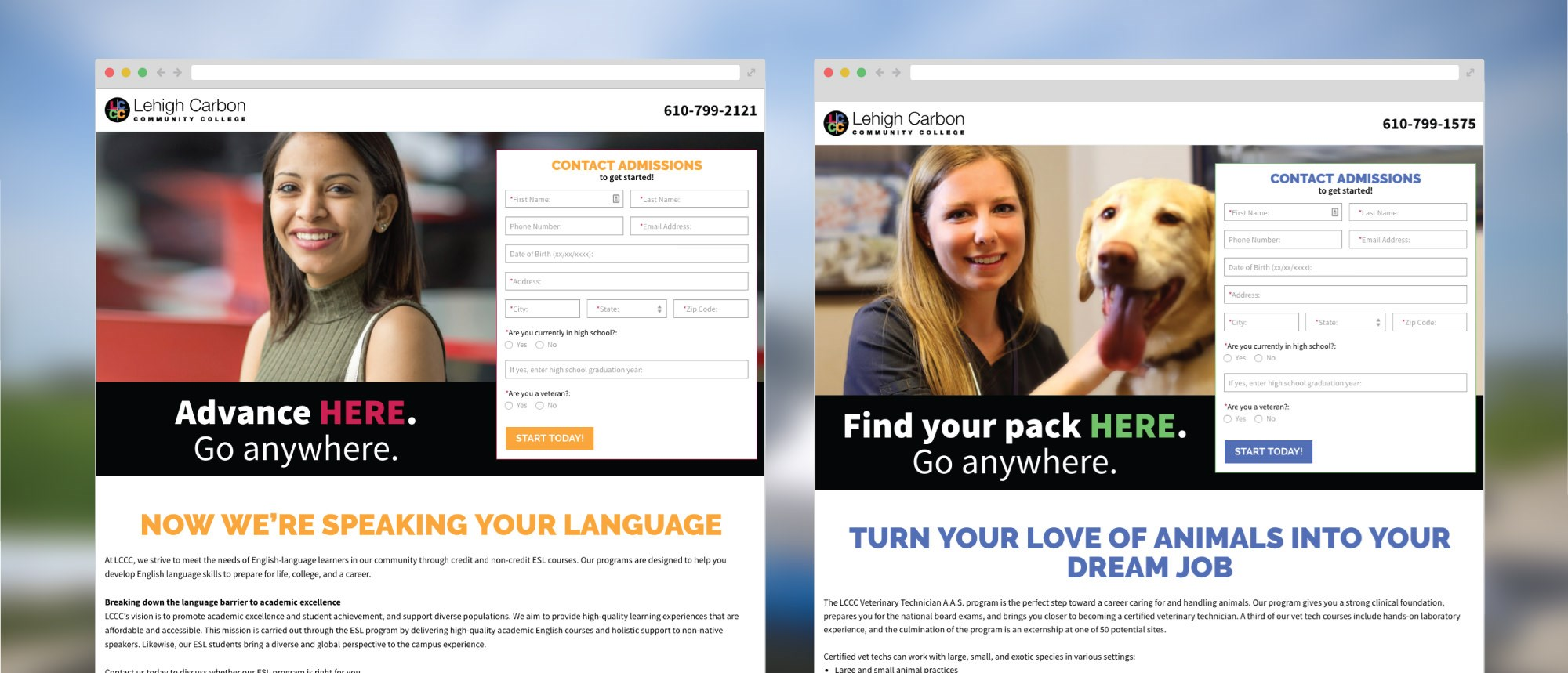 LCCC Landing Pages